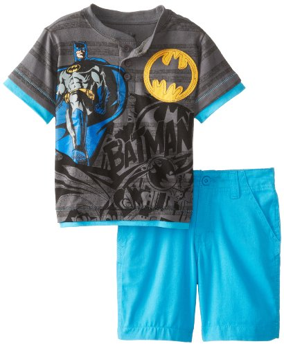 Dc Comics Little Boys' 2 Piece Batman Shirt And Short, Grey, 4T