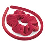 Hair Set Red Velvet Fabric Covered Alice Band and Scrunchie Hair Band Set