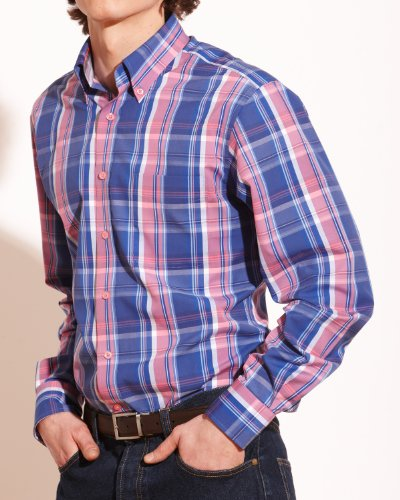 Savile Row Mens Navy Red Bold Check Button Down Casual Shirt Collar SizeX-Large Single Cuff