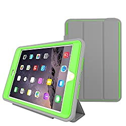 iPad Air 2 Leather, HEAVY DUTY EXTREME Protection / Rugged Slim Dual Layer Protective Cover With Standing 3 in 1 for iPad Air 2(2014) - Color (Green)