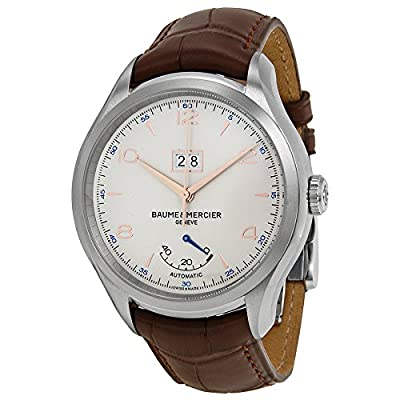 Baume et Mercier Clifton Automatic Silver Dial Brown Leather Watch MOA10205