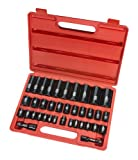 TEKTON 4888 3/8-Inch and 1/2-Inch Drive Impact Socket Set, 3/8-Inch - 1-1/4-Inch , 8-32mm, Inch/Metric, Cr-V, 37 Sockets
