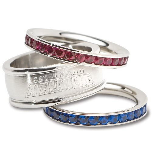 NHL Colorado Avalanche Logo Crystal Stacked Ring Set (Size 8)