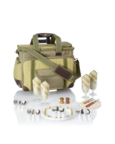 Picnic at Ascot Hamptons Deluxe Picnic Cooler for 4 with Wheels, Olive