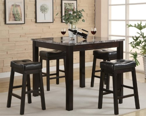 cheap 5pc counter height dining table and stools set cappuccino finish