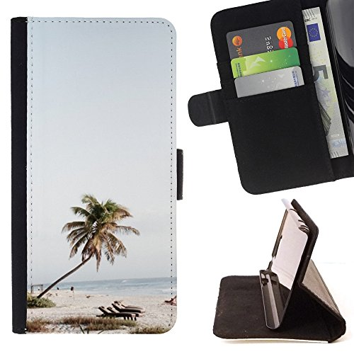 DEVIL CASE - FOR Samsung Galaxy S4 Mini i9190 - Palm Tree Beach Chairs Sea Blue Sky - Style PU Leather Case Wallet Flip Stand Flap Closure Cover (Samsung S4 Mini Palm Tree Cases compare prices)