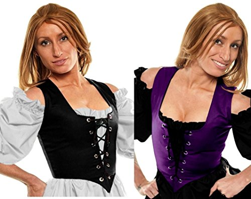 Renaissance Wench Halloween Costume Witch Reversible Bodice Corset Purple/Black