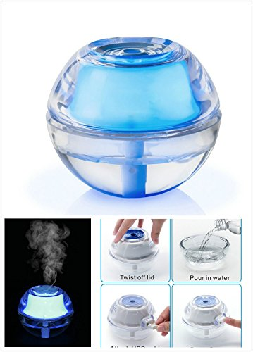 SUPERNIUDB Mini Air Humidifier Purifier Ultra Quiet Crystal Mist Dispenser with Safety Automatic Shut-Off, USB Cable, LED Night Light for Freshness Skin Moisturing Travel Home Office Car,80ml