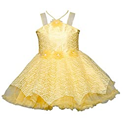 ChipChop Beige Empire Waist Party wear Round Neck Dress for Girls