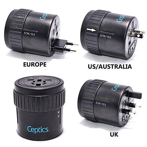 Ceptics Twist International All-In-One Travel Plug Adapter