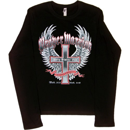 JUNIORS LONG-SLEEVE T-SHIRT : BLACK - MEDIUM - Prayer Warrior Jesus Christ Holy Divine Son - Christian Cross with Wings Biker