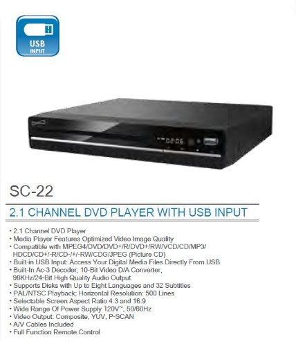 Fantastic Deal! Supersonic SC-22 2.0 Channel DVD Player Region-free with USB multimedia player plays...