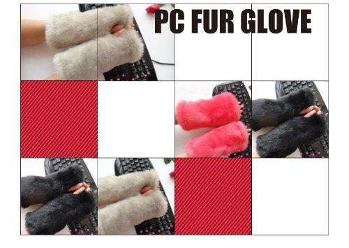 あったかパソコン作業用手袋 PC ウォーマー ファー かわいい (ピンク)