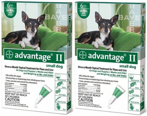 ADVANTAGE II Dog Flea Control 0-10 lbs Green 12 Month