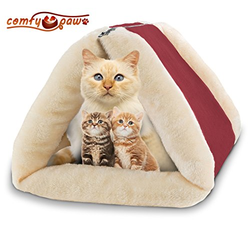 Pet Bed and Mat – Cuddly Self Heated – Washable Comfy House for Kittens, Cats, Dogs & Puppies – Best For Indoor, Outdoor and Traveling – Get The Most Warm Cozy & Comfortable Accessorie for your Animal