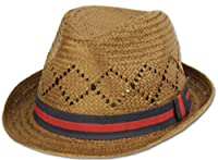 Unisex Structured 100% Paper Two-Tone Band Fedora Hat