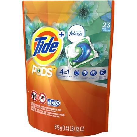 Tide Pods Plus Febreze Laundry Detergent Botanical Rain, 23 Pacs, 23 Oz kitdpr04789dracb022514ct value kit purex liquid he detergent dpr04789 and shout laundry stain remover dracb022514ct