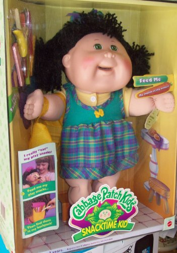 Baby dolls blog: cabbage patch kids snack time brunette, green.
