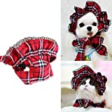 Bro'Bear Pet Plaid Hat with Lace for Small Dogs & Cats Party Maid Costume Headwear (Red, Small)