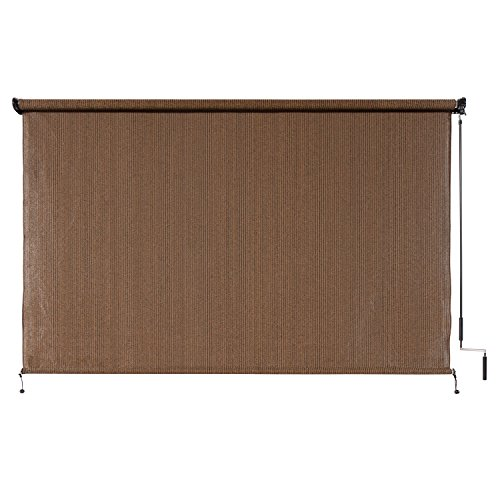 Coolaroo Sun Shade Exterior Cordless Roller Window Blinds Porch Drape Mocha 8ft Ebay