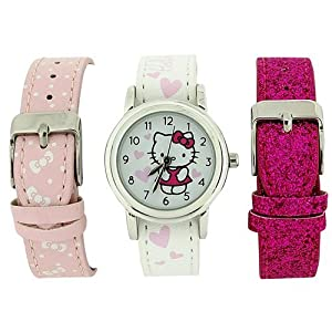 Hello Kitty Girls Analogue White Dial 3 Interchangeable Watch Straps Gift Set