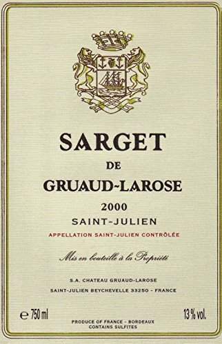 2000 Sarget De Gruaud-Larose Saint-Julien Bordeaux Rouge 750 Ml