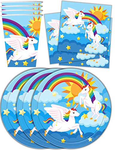 Rainbow-Unicorn-Pegasus-Birthday-Party-Supplies-Set-Plates-Napkins-Cups-Tableware-Kit-for-16