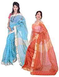 Banarasi Silk Works Gracious Blue And Orange Super Net Cotton Embroidered Combo Saree
