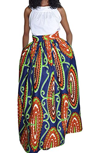 Sisiyer-Womens-Colorful-African-Print-Ankara-Long-Ruched-Maxi-Skirt