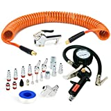 FYPower 22 Pieces Air Compressor Accessories kit, 1/4 inch x 25 ft Recoil Poly Air Compressor Hose Kit, 1/4