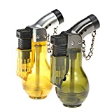 LVLing 2PCS Adjustable Flam Windproof Jet Flame Torch Refillable Cigar Lighter with Keychain (Green + Yellow)