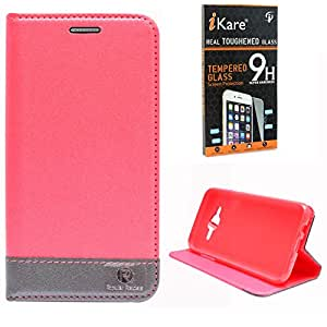 Dmg Praiders Wallet Stand Case For Samsung Galaxy J7 J700 (Pink) + Tempered Screen Protector