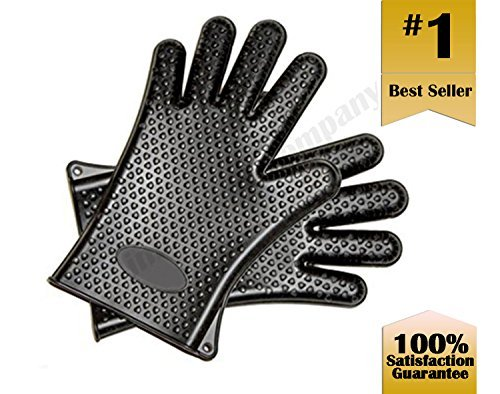 Premier Kitchen ~ Silicone Oven Cooking Mitts, Heat Resistant Gloves, Kitchen Baking Mitt, One Size, Black 5pcs heat resistant silicone kitchen cooking utensils set