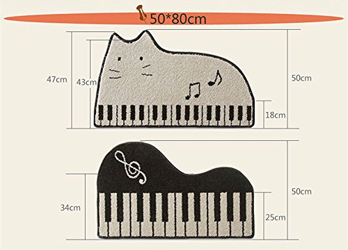 Amariver Cute Area Rugs Music Piano Carpet Cartoon Rugs and Carpets for Home Living Room,White & Black Rug,Modern Area Rug (SIZE50, YOU)