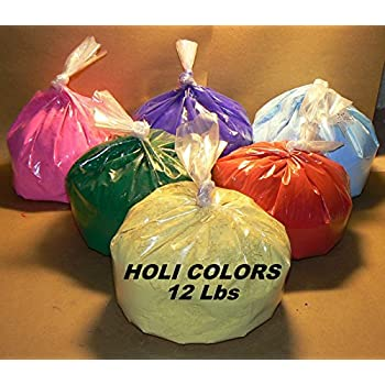 HOLI Colors 12 Lbs 6 colors (2lbs ea color) RED, YELLOW, PINK, BLUE, GREEN, AND PURPLE - SHIPS FROM LOS ANGELES 3 TO 6 DAYS DELIVERY