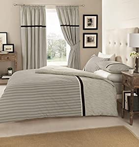 Valeria Grey Quilt Duvet Cover Set With Matching Curtains And Fitted Sheet Double