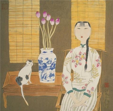 'Hu Yongkai,Seated Woman And A Cat,21th Century' Oil Painting, 10x10 Inch / 25x26 Cm ,printed On Perfect Effect Canvas ,this High Resolution Art Decorative Prints On Canvas Is Perfectly Suitalbe For Bar Gallery Art And Home Gallery Art And Gifts