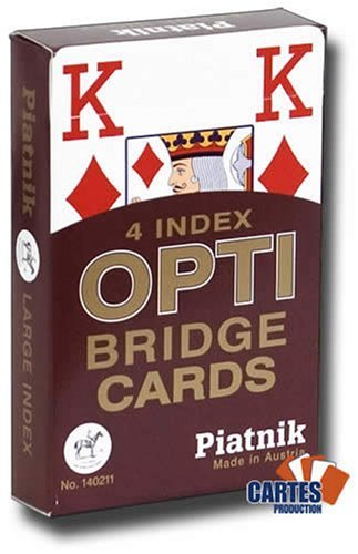 Jeu de 52 cartes : 4 Index Optic PIATNIK Bridge rouge