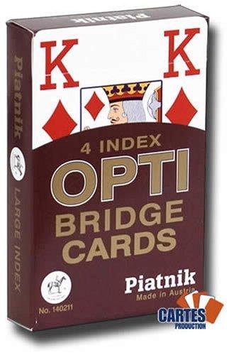 Jeu de 52 cartes : 4 Index Optic PIATNIK Bridge rouge