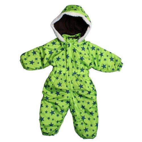 ジャンプスーツ ベビー 男の子 星プリント カバーオール型 中綿スノーコンビ グリーン 80