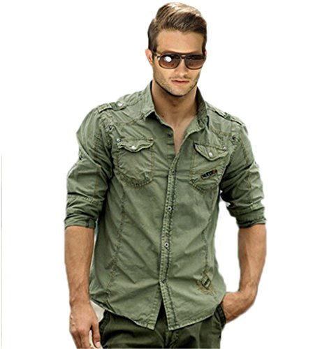 herren milit r lange sleeve drau en arbeiten hemd yrcs08 light army green l. Black Bedroom Furniture Sets. Home Design Ideas