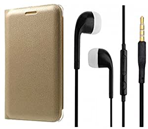Novo Style Samsung Tizen Z3 Premium PU Leather Quality Golden Flip Cover + Earphone / Handsfree with 3.5mm jack
