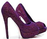ROSELIGHT Crystal Peep Toes in Schwarz Rot Blau Türkis mit Rosa Sohle (36, Violette)