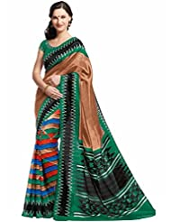 Vipul Maheshwari Silk Brown Patola Print Saree With Embroidered Blouse