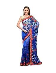 Royal Blue Net Saree With Zari Border