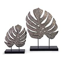 Hot Sale IMAX Silver Antiqued Leaves Polyresin Stone Powder Iron Transitional Tribal Design Set of 2