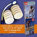 """18"""" Semi-flex Body-Reach+ Bendable """"Unbreakable"""" Lotion Applicator includes: (10) SpongeAbles or 2 year supply!"""