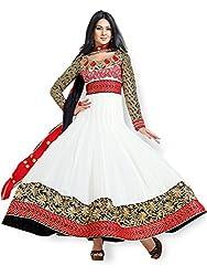 Orange Fab Resham Work Georgette Anarkali Salwar Suit Dress Material