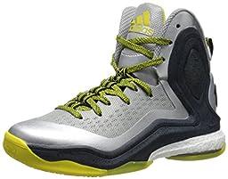 adidas Performance D Rose 5 Boost J Kids\' Basketball Shoe (Big Kid), Silver/Vivid Yellow, 6 M US Big Kid