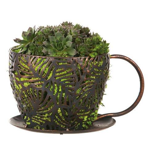 Coffee Cup Cross Hatch Planter